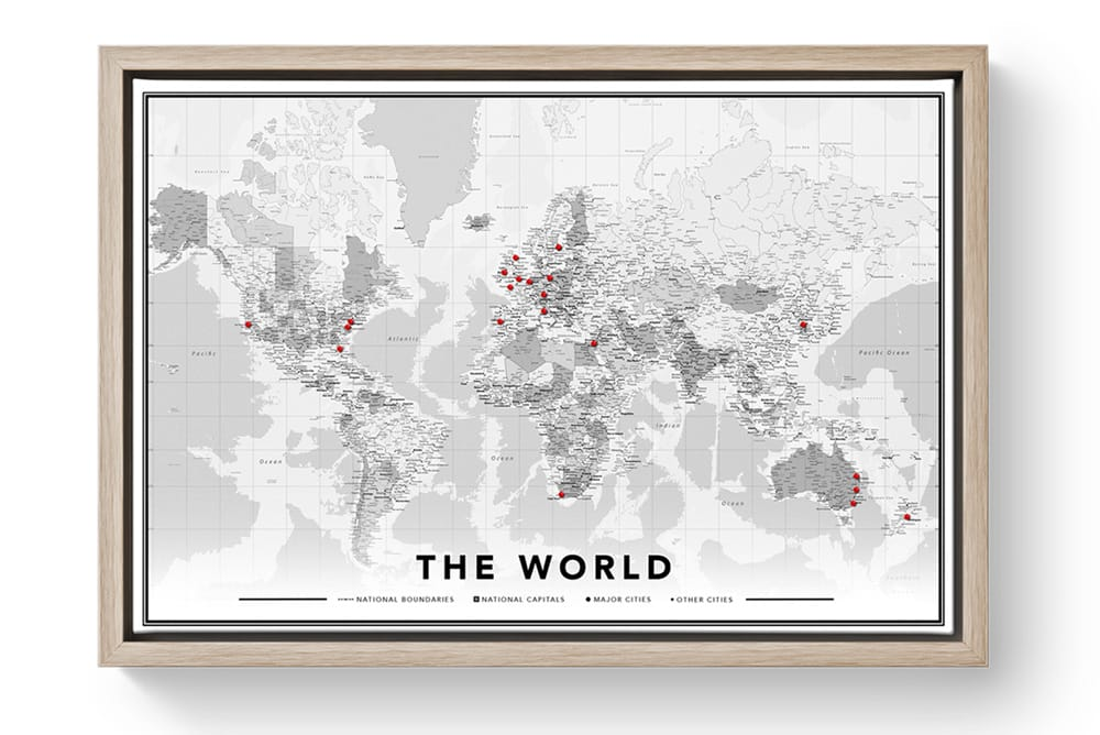 Uk Map Of The World.World Map Printed Onto Canvas With Free Pins Hellocanvas