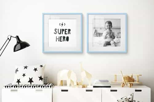 Photo wall white living room